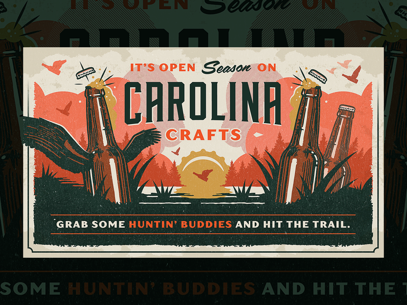 Beer Hunting Fall 2018 script vintage typogaphy the variable texture south carolina retro poster orange north carolina illustration hunting forest field guide beer