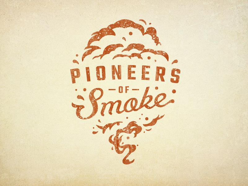 OKJs One rugged oklahoma branding southern grit bbq smoke script badge vintage retro illustration texture typography