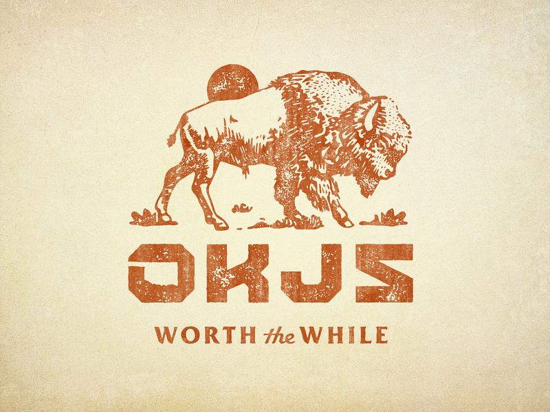 OKJs Three rugged outdoors vector oklahoma buffalo smoker bbq script branding badge logo vintage retro illustration texture typography