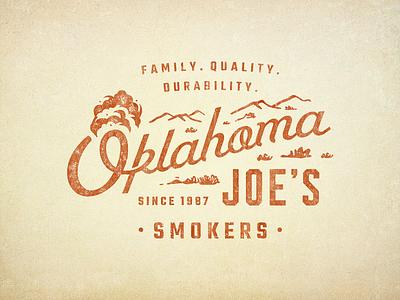 OKJs Four outdoor smoker rugged bbq oklahoma vector script branding badge logo vintage retro illustration texture typography