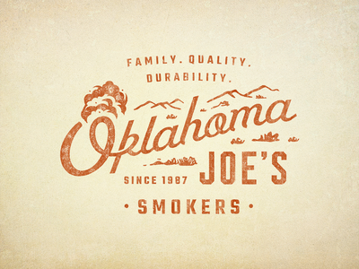 OKJs Four outdoor smoker rugged bbq oklahoma vector script branding badge logo vintage retro illustration texture typography