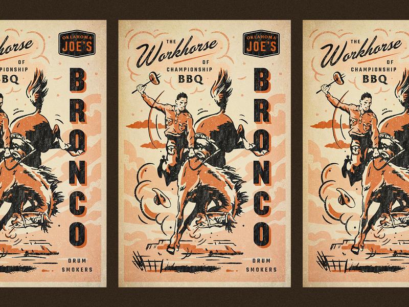 OKJs Bronco oklahoma okj smoker bbq poster hand drawn script branding badge vintage retro illustration texture typography