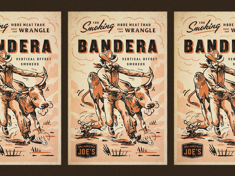 OKJs Bandera oklahoma okj smoker bbq poster hand drawn script branding badge vintage retro illustration texture typography