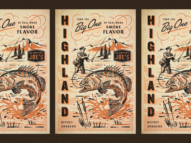 OKJs Highland fishing fish oklahoma okj smoker bbq poster hand drawn script branding badge vintage retro illustration texture typography