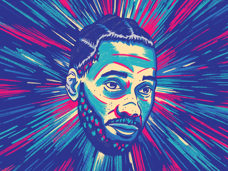 The Claw 2d digital raptors portrait nba basketball illustration texture