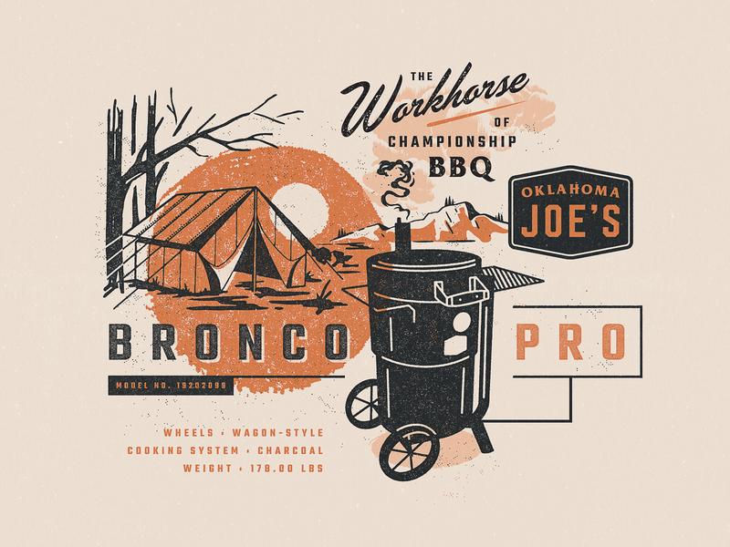 Bronco Pro typography texture illustration retro vintage script badge branding bbq design 60s 50s smokers oklahoma meat
