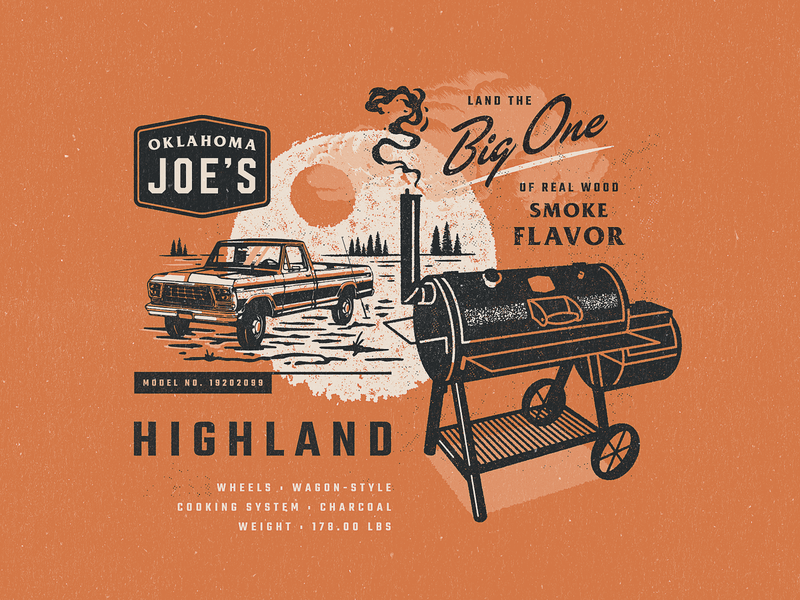 Highland vintage typography texture smokers script retro oklahoma meat illustration design branding bbq badge 60s 50s