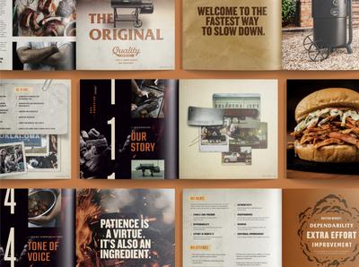 OKJs Brand Book book design bbq branding badge script vintage retro illustration texture typography