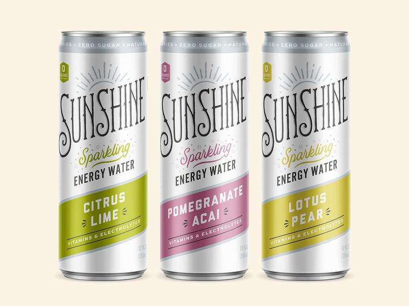 Sunshine Sparkling Energy Water packaging branding retro vintage sunshine script typogaphy beverage can drink energy