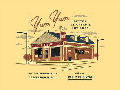Yum Yum apparel print screen print design icecream hot dog north carolina branding script vintage retro illustration texture typography