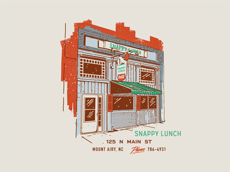 Snappy Lunch matchbook building lunch north carolina branding vintage retro illustration texture typography