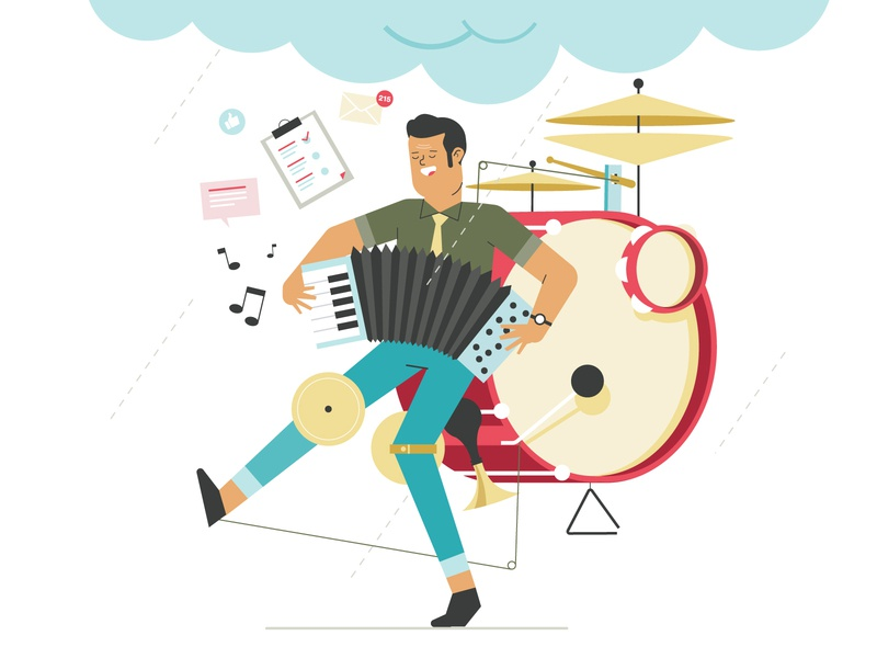 one man show drummer one man show illustration graphic character vector art flat flat design design vector character character design