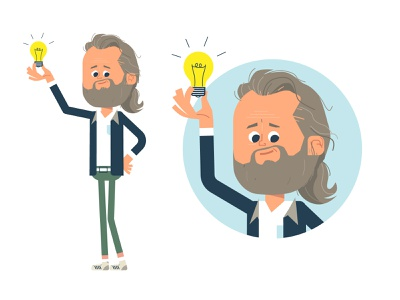 CHARACTERDESIGN characterdesign artdirector hipster idea lightbulb beard illustration vector art design graphic character flat flat design vector character character design