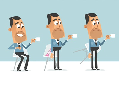 Sitting on gum icon chair coffee character design flat design flat vector chewing gum gum