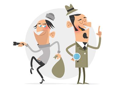 Detective & bad guy character design crook bad guy detective