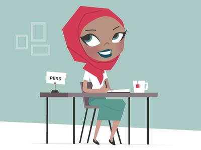 pretty muslim girl writing