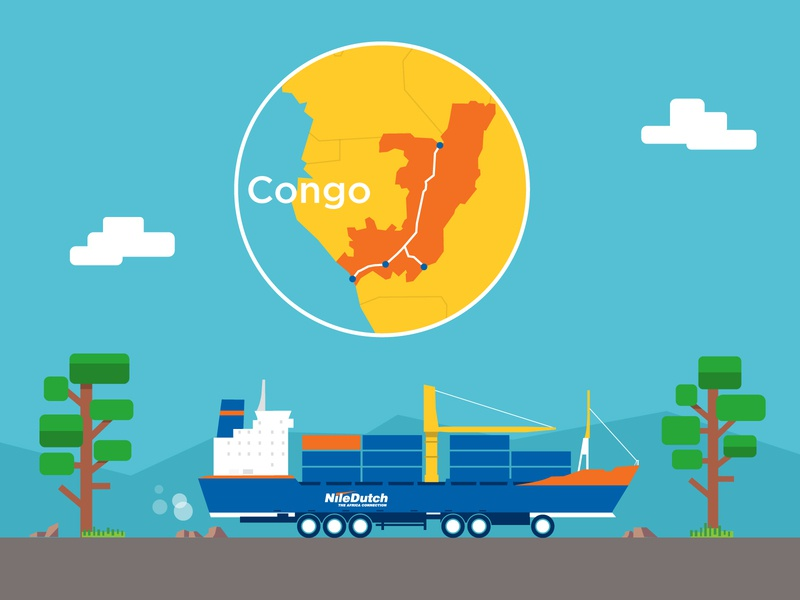 Congo inland shipment container shipment ship cargo illustration graphic character vector art flat flat design design vector character character design