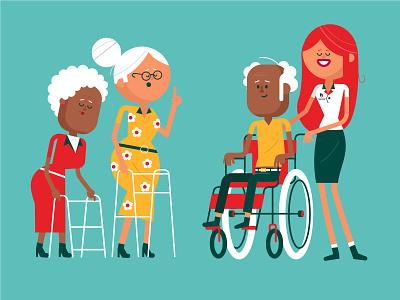 Senior people talking running graphic character vector art flat flat design design vector character character design older ladies ladies senior