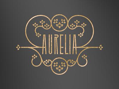 Aurelia logo concept elegant blossom flowers flower floral concept vector illustration logo branding typography lettering postmodern secession jugendstil art deco art noveau art nouveau art