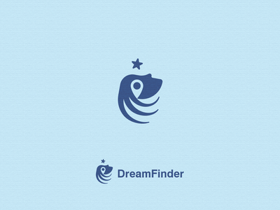 DreamFinder negative space logo graphic design concept dream finder finder find dream negative space negativespace logo