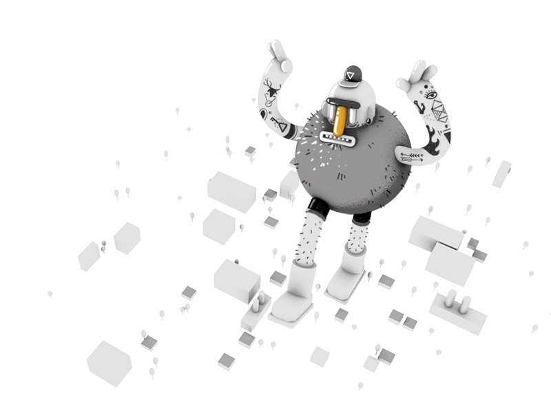 Giant hipster smashing town 3d cinema 4d hipster town tattoos black and white bw miniature giant