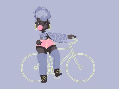 Pear Shaped Girl #1 badass shorts bubblegum gum bike girl