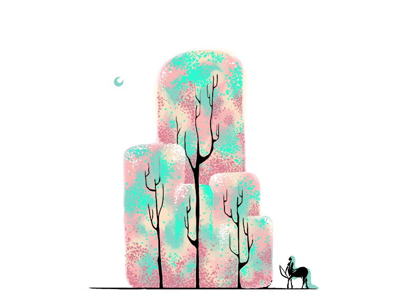 Trees trees  colourful moon tail bow forest lady centaur trees