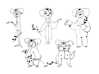 Koala gurlz sketch suit exploration character speech talking branch eucalyptus girls koala