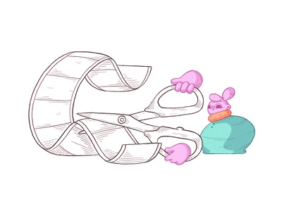 Cutting reelzzz film geometric cute fun quirky character scissors cut reel