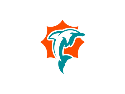Dolphins football sports logo design concept branding brand logo sports nfl miami dolphins