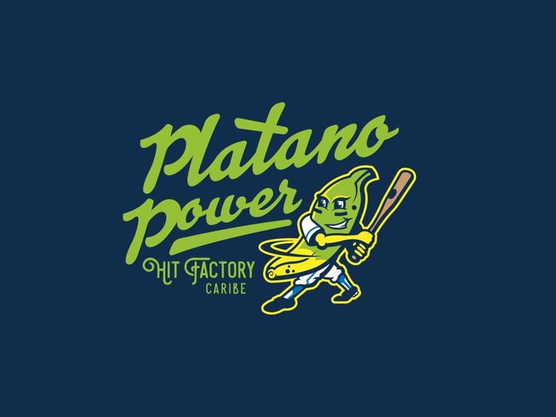 Platano Power for Hit Factory Athletics illustration identity branding design branding hit factory mlb logo sports logo sports design apparel baseball sports