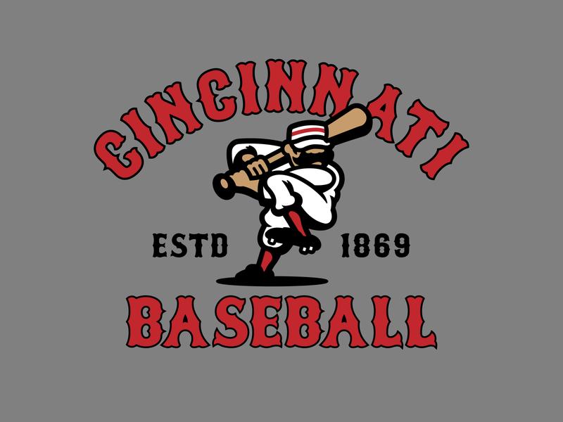 Old Timey Baseball Player red reds cincinnati reds mlb identity design vector baseball logo branding illustration illustrator cincinnati sports
