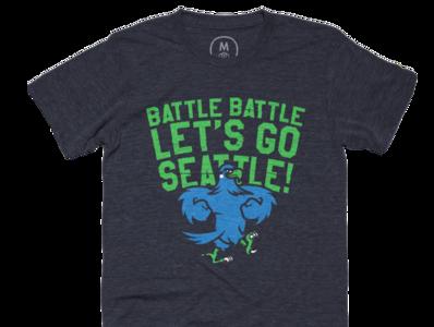 Battle Battle Let's Go Seattle! - Cotton Bureau identity design vector illustrator 12 hawks concept football illustration branding logo nfl sports seahawks seattle cottonbureau