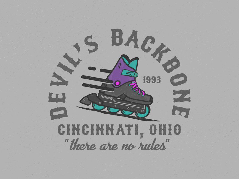 Devil's Backbone movies sports rollerblade vector design identity illustrator illustration cincinnati