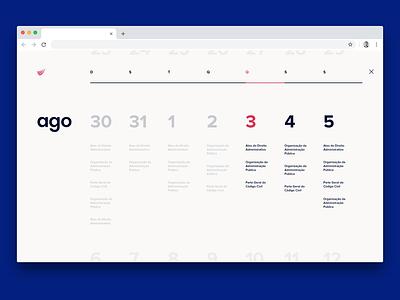 Calendar  —  Study platform text calendar design calendar identity web website ux ui typography type minimal lettering branding ux design system studying study product platform design