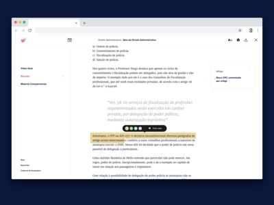 Reading experience  —  Studying platform