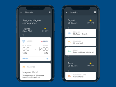Timeline for an scheduled travel rent flight feed agenda schedule app travel app list list view card box timeline ticket airline travel ui typography ux design product design