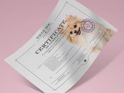 Certificate for VOGUE DOG vector logo illustration icon graphic design design branding brand identity