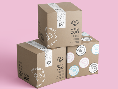 ALPHA ZOO package stickers logo box package alpha zoo graphic design design branding brand identity