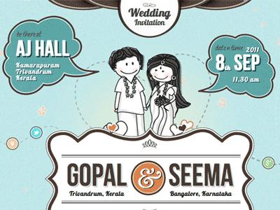 Gopal Seema Wedding wedding design webdesign retro illustration
