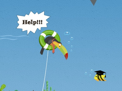 Design for a new project bird business help fish underwater sea