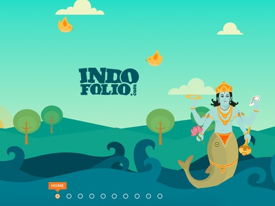 Indofolio.com horizontal parallax single page art indian blue flat illustrations css3