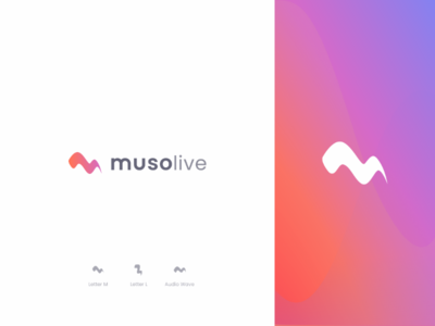 Musolive Logo Concept 2020 voice brand identity logo design logotype m logo abstract icon audio wave live music app icon branding logo app music
