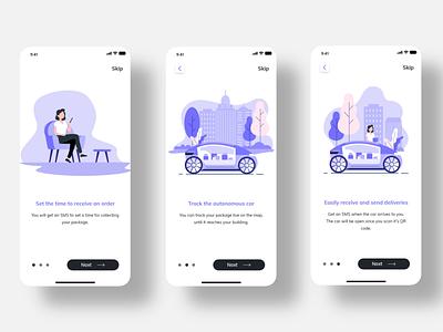 Autonomous Car Delivery Service onboarding adobexd ux ui design delivery app car app