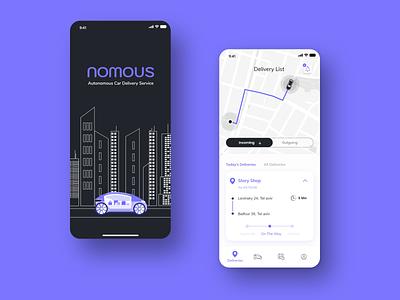 Autonomous car delivery service ux logo car app application app design ui ios adobexd ux ui design