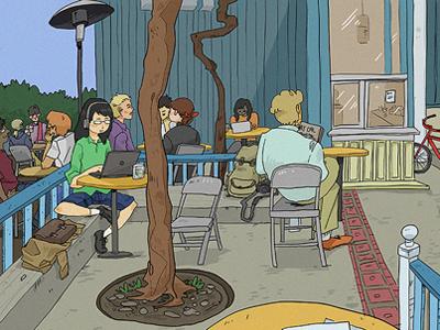 Caffe Strada illustration cafe berkeley