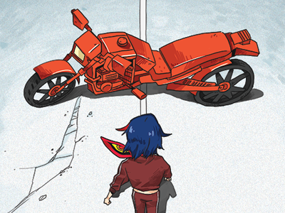 Red Motorcycle akira red motorcycle illustration kill la kill