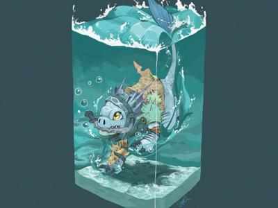 Slark isometric container water gaming slark dota illustration