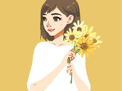 Girl with Flowers yellow flowers girl illustration