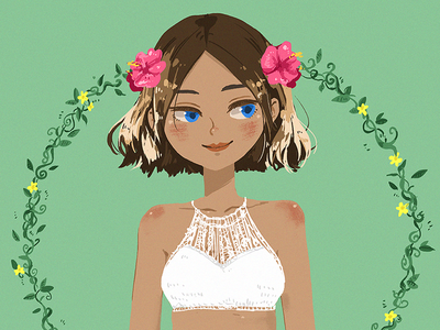 Hibiscus hair ombre flowers island girl illustration